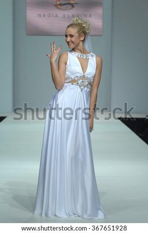 MOSCOW, RUSSIA - October 28, 2011: Moscow Fashion Week in Gostiny Dvor. Russian TV presenter Olga Buzova in the show of fashion designer Nadejda Slavina - stock photo