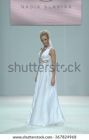MOSCOW, RUSSIA - October 28, 2011: Moscow Fashion Week. TV presenter Olga Buzova in the show of fashion designer Nadejda Slavina - stock photo