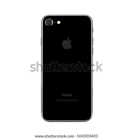 MOSCOW, RUSSIA - OCTOBER 22, 2016: New black iPhone 7 is a smartphone developed by Apple Inc. Apple releases the new iPhone 7 and iPhone 7 Plus