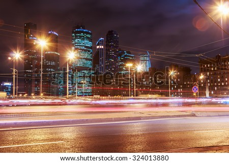 Moscow, Russia - October 1, 2015: Night traffic and skyscrapers Moscow International Business Center Moscow-City. Located near the Third Ring Road, the Moscow-City area is currently under development - stock photo