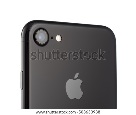 MOSCOW, RUSSIA - OCTOBER 18, 2016: Photo of camera iPhone 7 is a smartphone developed by Apple Inc. Apple releases the new iPhone 7 and iPhone 7 Plus