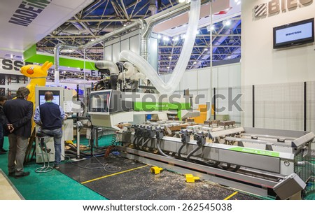 MOSCOW, RUSSIA - OCTOBER 24, 2012: Woodworking equipment of the Italian company Biesse at the International exhibition LESDREVMASH