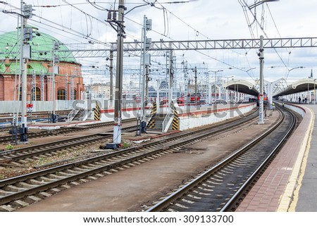 MOSCOW, RUSSIA, on AUGUST 19, 2015. The Leningrad station - one of nine railway stations and the oldest station of Moscow. A view of platforms for regional trains