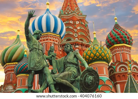 Moscow,Russia,Red square, St. Basil's Cathedral and monument to Minin and Pozharsky - stock photo