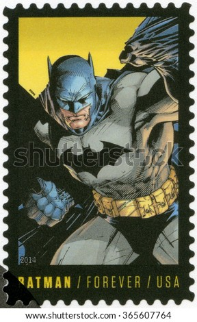 MOSCOW, RUSSIA - SEPTEMBER 22, 2015: A stamp printed in USA  series the 75th anniversary of a DC Comics, 2014