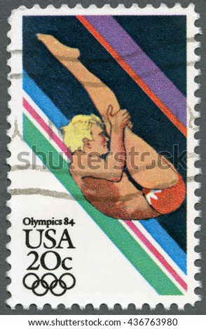 MOSCOW, RUSSIA - SEPTEMBER 20, 2014: A stamp printed in USA shows Sportsman, Diving, Summer Olympics Los Angeles, 1984 - stock photo