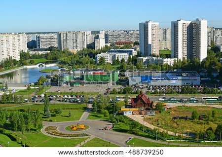 Moscow, Russia - September 01.2016. A Top view of the district 16 in Zelenograd summer