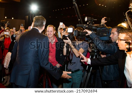 "MOSCOW, RUSSIA, September, 10: Actor Pierce Brosnan. Premiere of the movie ""THE NOVEMBER MAN"", September, 10, 2014 at Barvikha Luxury Village in Moscow, Russia - stock photo"