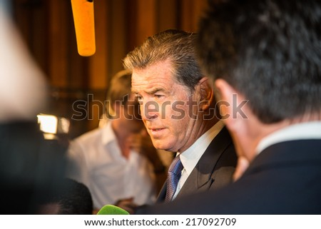"MOSCOW, RUSSIA, September, 10: Actor Pierce Brosnan. Premiere of the movie ""THE NOVEMBER MAN"", September, 10, 2014 at Barvikha Luxury Village in Moscow, Russia"