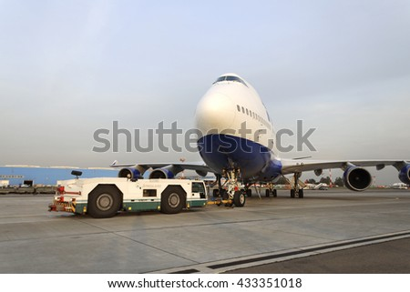 MOSCOW, RUSSIA - SEPTEMBER 26, 2014: Boeing 747 towed to the runway. Transaero Airlines has ceased to exist in 2015.