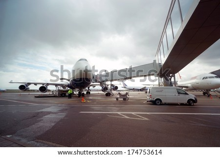 MOSCOW, RUSSIA - SEPTEMBER 26, 2013: British Airways jet aircraft in Domodedovo airport of Moscow on September 26, 2013. British Airways is the flag carrier airline of the United Kingdom - stock photo