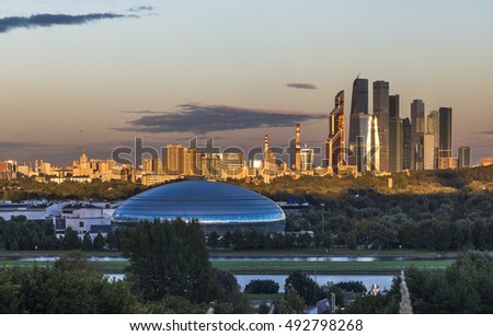 Moscow, Russia - September 8, 2016: Business center Moscow-city at sunset. The view from Krylatsky hills.