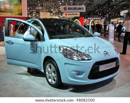 MOSCOW, RUSSIA - SEPTEMBER 1: Citroen C3 on display at the Moscow International Autosalon on September 1, 2010 in Moscow, Russia. - stock photo