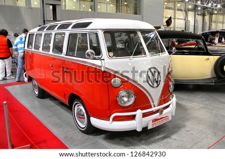 MOSCOW, RUSSIA - SEPTEMBER 30: German Volkswagen Transporter van presented at the annual motor show Ilya Sorokin's Oldtimer Gallery on September 30, 2012 in Moscow, Russia. - stock photo