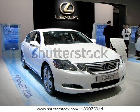 MOSCOW, RUSSIA - SEPTEMBER 1: Hybrid car Lexus GS450h on display at the Moscow International Motor Show (MIMS) on September 1, 2010 in Moscow, Russia. - stock photo