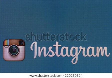 Moscow, Russia - September 24, 2014: instagram logo on a computer monitor. Instagram free application sharing photos and videos