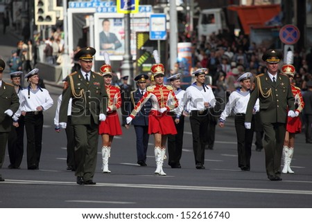 "MOSCOW, RUSSIA - SEPTEMBER 1, 2012, International festival ""Spasskaya tower"" of military orchestra. Russian military band marching on Tverskaya str."