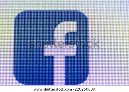 Moscow, Russia - September 24, 2014:Like us on Facebook icon on computer screen. Facebook is one of the largest social networks in the world. Was founded in 2004 by Mark Zuckerberg - stock photo