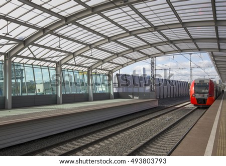 MOSCOW, RUSSIA - SEPTEMBER, 26 2016: Little Ring of the Moscow Railways, is a 54.4-kilometre-long orbital railway in Moscow.Russia. Opened 10 September 2016. Luzhniki railway station