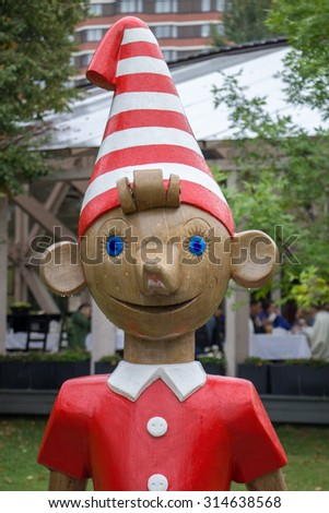 MOSCOW, RUSSIA - 06 SEPTEMBER, 2015: Moscow City Day, Russian Pinocchio (buratino). - stock photo