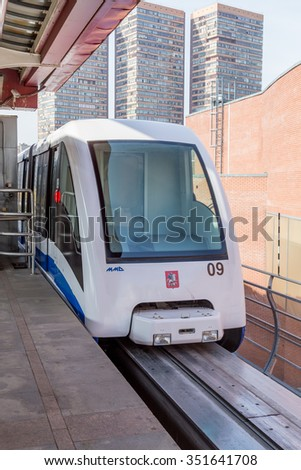 Moscow, Russia - September 25, 2015: Moscow monorail fast train on railway, close-up - stock photo