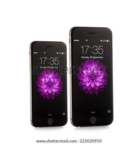 MOSCOW, RUSSIA - SEPTEMBER 29, 2014: New iPhone 6 and iPhone 6 Plus is a smartphone developed by Apple Inc. Apple releases the new iPhone 6 and iPhone 6 Plus - stock photo