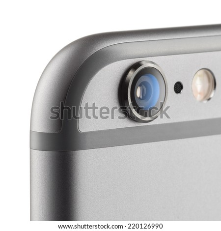 MOSCOW, RUSSIA - SEPTEMBER 26, 2014: Photo of camera  iPhone 6 is a smartphone developed by Apple Inc. Apple releases the new iPhone 6 and iPhone 6 Plus  - stock photo