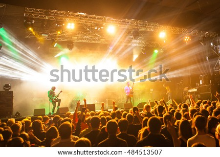 "MOSCOW, RUSSIA - SEPTEMBER 10: Rock festival ""Highscreen Fest-2016"" in Bud Arena. A crowd of fans listening to their favorite artists."