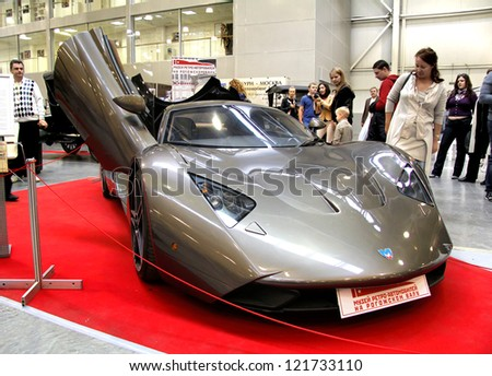 MOSCOW, RUSSIA - SEPTEMBER 30: Russian supercar Marussia B1 presented at the annual motor show Ilya Sorokin's Oldtimer Gallery on September 30, 2012 in Moscow, Russia.