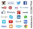 MOSCOW, RUSSIA - SEPTEMBER 03, 2015: Set of most popular social media icons such as Facebook, Twitter, Skype, Instagram, Linkedin, WhatsApp, YouTube,  Google Plus, Pinterest printed on white paper - stock photo