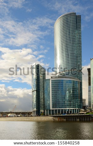 MOSCOW,RUSSIA-SEPTEMBER 26: Skyscrapers of the MIBC on September 26, 2013 in Moscow, Russia.The total cost of the project is estimated at $12 billion.MIBC is the 100 hectare development area.