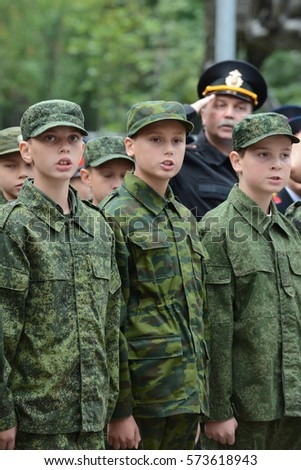 MOSCOW, RUSSIA - SEPTEMBER 1, 2014:The cadets of the First Moscow cadet corps.