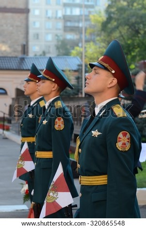 MOSCOW, RUSSIA - SEPTEMBER 6, 2014:The honour guard of interior Ministry troops of Russia. Special military formations are designed to ensure the internal security of the state, protection of rights.