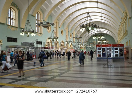 MOSCOW, RUSSIA - 17.06.2015. The interior of the Kazansky railway station. Built in 1862.