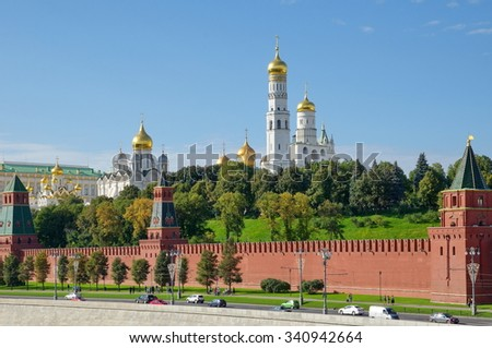 Moscow, Russia - View of the churches of the Kremlin in the early autumn - stock photo