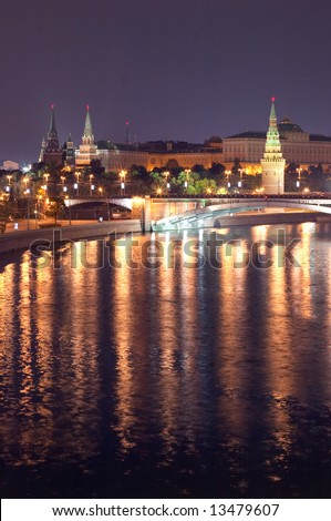 Moscow, Russia. View on Kremlin with Bolshoy Kamenny Bridge across the Moskva River. - stock photo