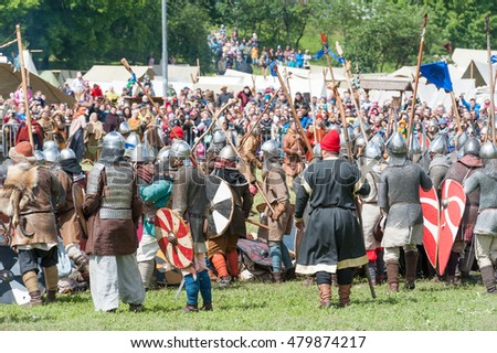 MOSCOW, RUSSIAN FEDERATION - JUNE 12, 2016: Battle of thousand swords. Vikings defeat the army of Russian Prince. Historical reconstruction. Kolomenskoe Park.