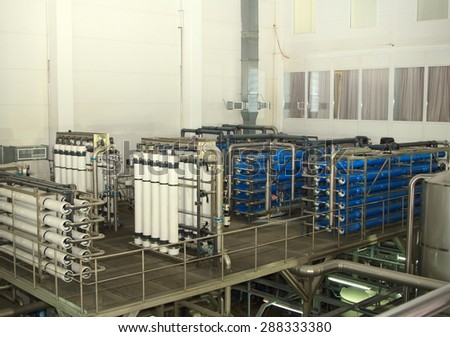 Moscow, Russian Federation -  March 07: filter system at a large beer company, Moscow Brewing Company. - stock photo
