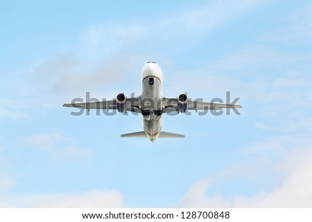 MOSCOW - SEP 22: Airbus A320 in sky on Sep 22, 2011 in Moscow, Russia.  Airbus A320 aircraft developed by European consortium Airbus SAS».