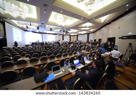 MOSCOW - SEP 1: Election of the President of the Russian Football Union in Renaissance Moscow Monarch Centre Hotel on September 1, 2012 in Moscow, Russia. - stock photo