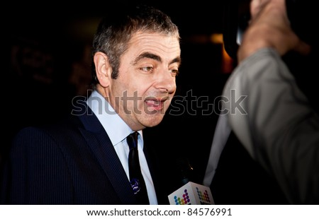 "MOSCOW - SEPTEMBER 12: Actor Rowan Atkinson at the premiere of the movie ""Johnny English reborn"" at the ""October"" Cinema. September 12, 2011 in Moscow, Russia."