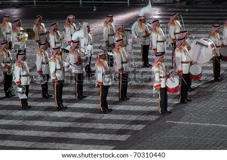 "MOSCOW - SEPTEMBER 4: Band of Police of the Kingdom of Bahrain act at the international military-musical festival ""Spassky Tower"" on September 4, 2010, on Red Square in Moscow"