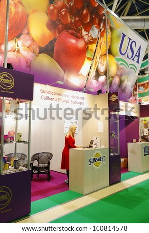 MOSCOW-SEPTEMBER 13: Exposition of the American company in the wholesale trade in food products at International Food & Drinks Exhibition on September 13, 2011 in Moscow