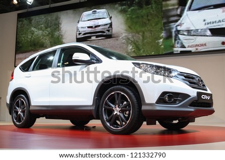 MOSCOW-SEPTEMBER 1: Honda CRV at the international exhibition of  the automobile industry Moscow international automobile salon MIAS on September 1, 2012 in Moscow - stock photo