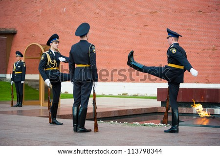MOSCOW - SEPTEMBER 16: Hourly change of the Guard of Honor at the tomb of the Unknown Soldier at the wall of Kremlin on September 16, 2012 in Moscow. Russia.