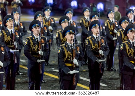 "MOSCOW - SEPTEMBER 08, 2015: international festival of military orchestra ""Spasskaya tower"", honorary presidential regiment, Russia."