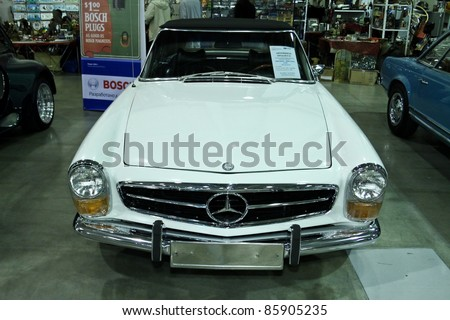 MOSCOW - SEPTEMBER 16: Mercedes Benz 280SL cabrio at the international exhibition of the technical antiques on September 16, 2011 in Moscow, Russia - stock photo