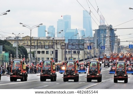 MOSCOW - SEPTEMBER 11, 2016: Moscow City Day celebration, 869th anniversary. Transport drives along Sadovoye ring in Moscow. First Moscow Parade of City Transport.