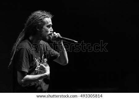 MOSCOW - 10 SEPTEMBER, 2015 : Russian famous rap singer Kirill Tolmatsky known as Detsl and performing live on stage of Yotaspace night club.Concert of rapper Le Truk