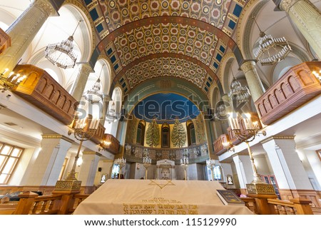 MOSCOW - SEPTEMBER 21: The Choral Synagogue interior on September 21, 2012. Completed in 1906, The Choral synagogue is the main synagogue in Russia and the former USSR. - stock photo